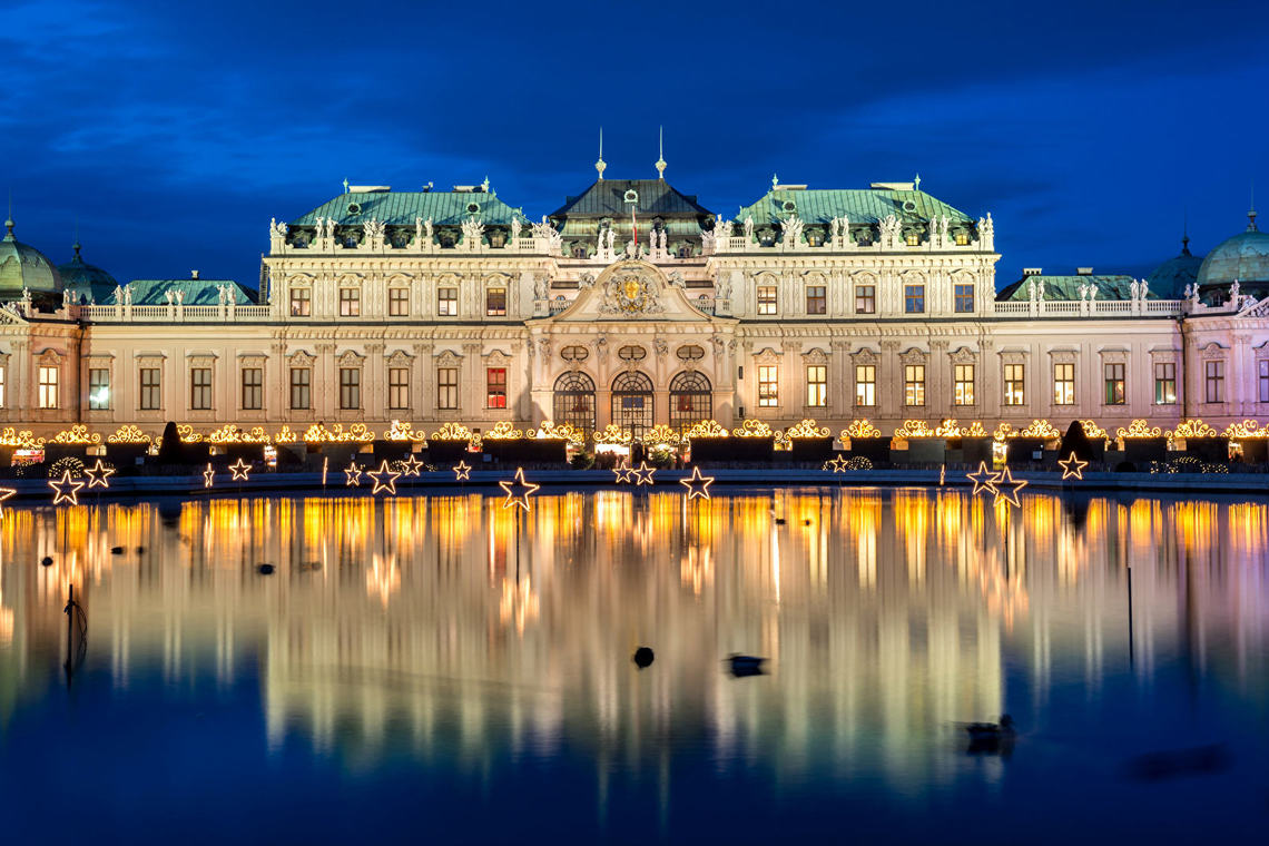 Vienna austria pond palace belvedere palace night 525714 1920x1080